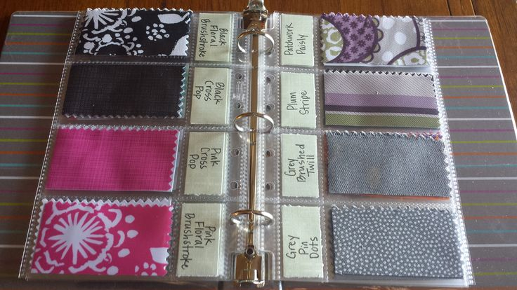 Fabric Swatch Samples business card style with label for easy reference.