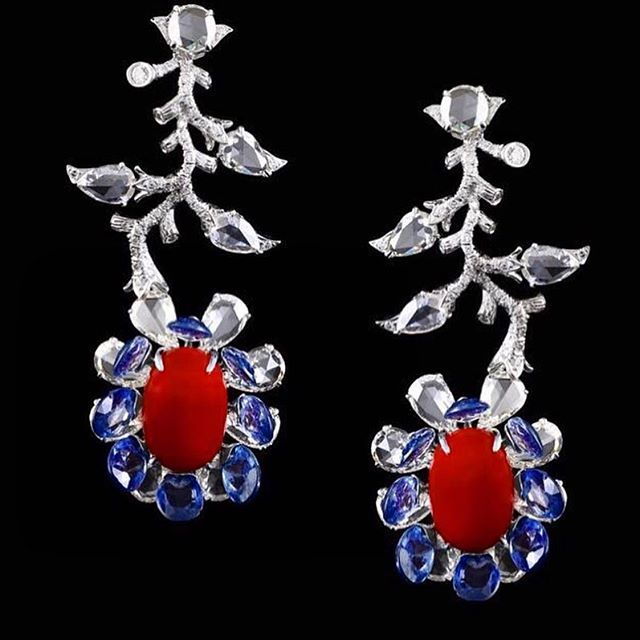 Coral, sapphire, and rose cut diamonds.. #vakfinejewels #vakisback #floatingpetals #jewelry #earrings #design #blue #sapphire #red #coral #diamonds