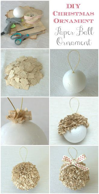 DIY Paper Ball Christmas Ornament - Paper Christmas Craft Idea - I Love how fluffy these look LO