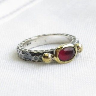 ruby turkish vintage style ring 925 sterling