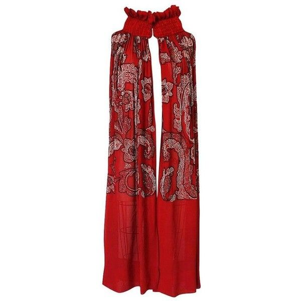 Preowned 1920s House Of Adair Densely Beaded Red Silk Cape (137.535 RUB) ❤ liked on Polyvore featuring outerwear, capes, red, red cape coat, cape coats, beaded cape, silk cape and red cape
