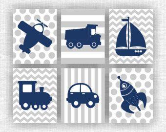 Tema azul marino y gris bebé niño de transporte infantiles para imprimir, aviones, cohetes, barco, camión, tren, coche, juego de 6, 8 x 10, descarga inmediata