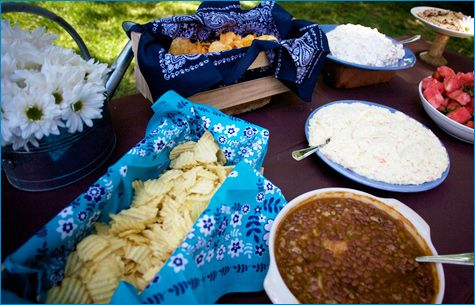 LOVE the idea of the baskets with bandana's as lining :)  for bread, chips or napkins.