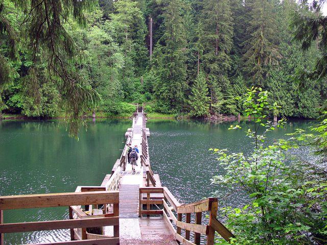 The floating bridge at Hayward Lake in Mission, BC.