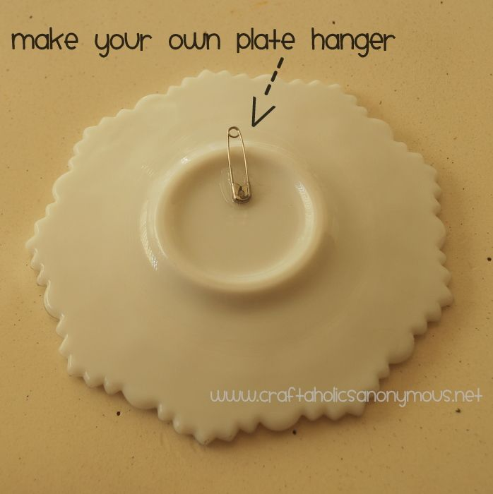 A cheap and easy alternative to plate hangers for hanging plates on a wall. Paper clips could also be used.