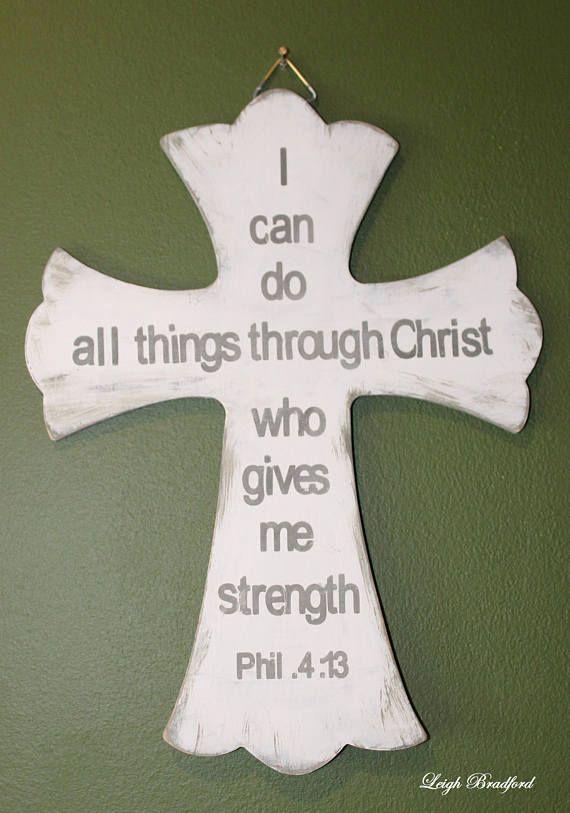 Scripture Wall Art Philippians 4 13 Cross Wood Sign Wooden Etsy Wood Signs Cross Wall Decor Scriptures Wall