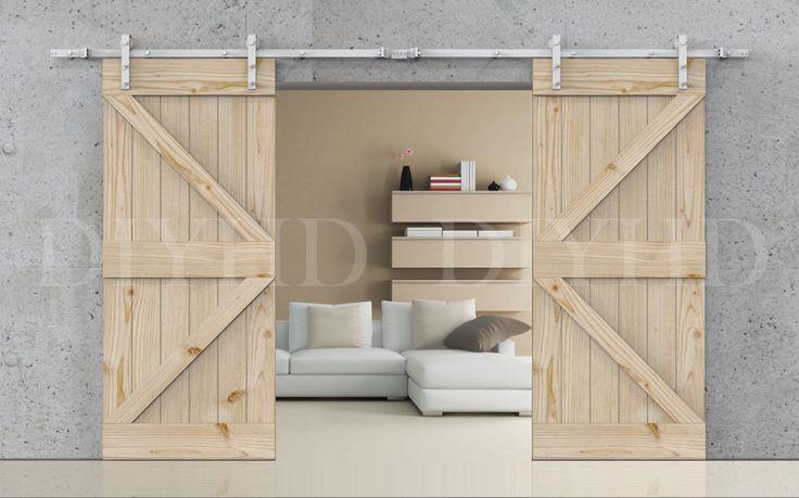 8/10ft Vintage White double sliding barn door hardware rustic barn sliding track   Home & Garden, Home Improvement, Building & Hardware   eBay!