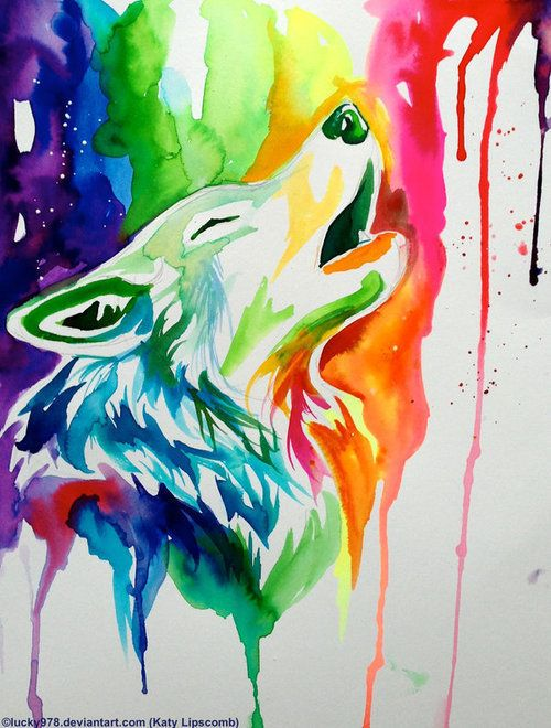 Cotd Multi Colour Via Tumblr Rainbow Drawing Wolf Painting Watercolor Wolf