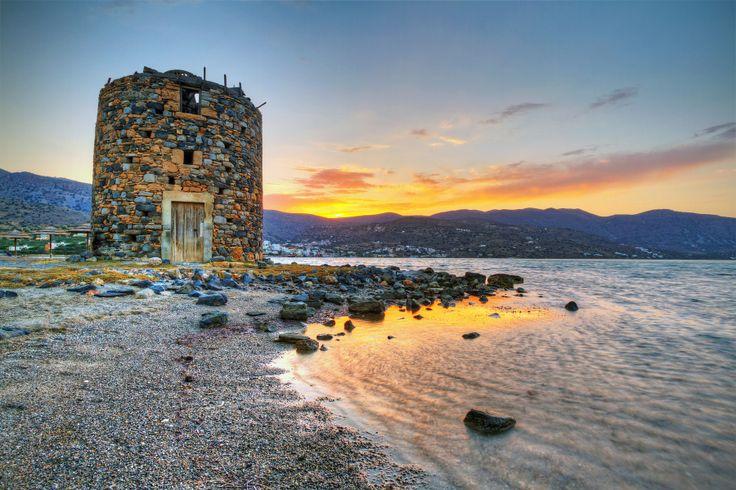 Old windmill ruins in Mirabello Bay, Crete