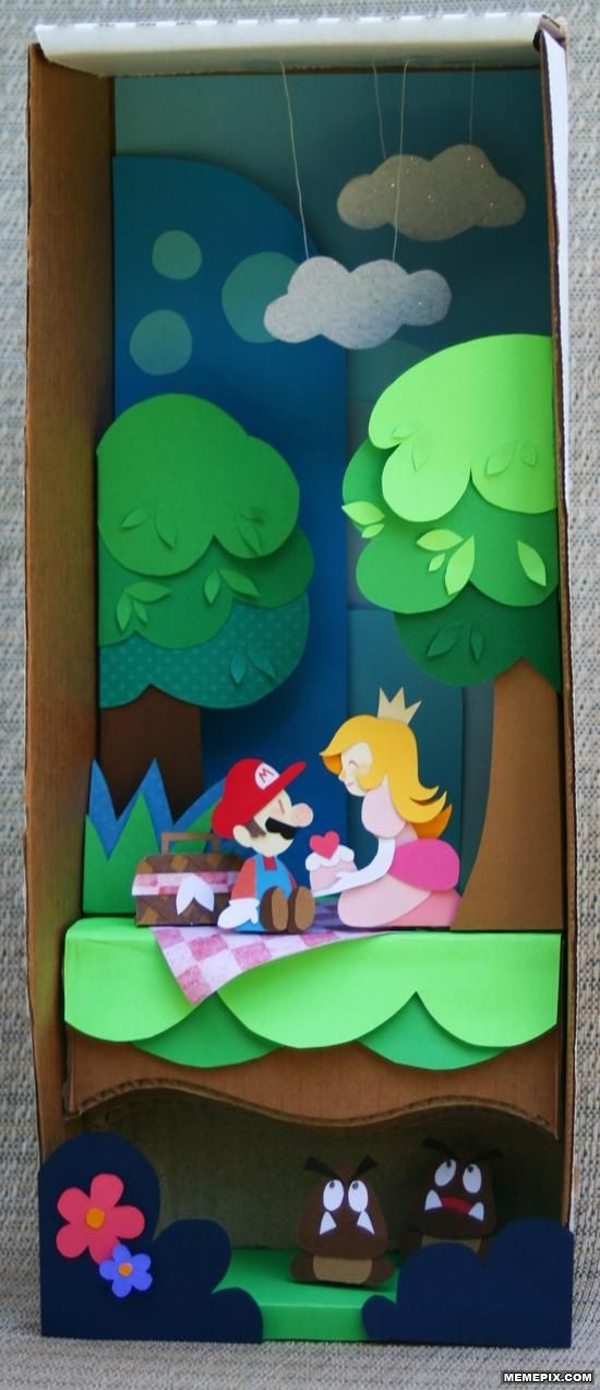 Mario diorama!I'm totally decorating their room with Mario, something like this would look great on the wall!