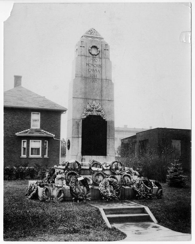 Whitby Cenotaph, c.1930. Photographer unknown. The cenotaph was erected in 1924 at the south west corner of Dundas Street and Green Street.
