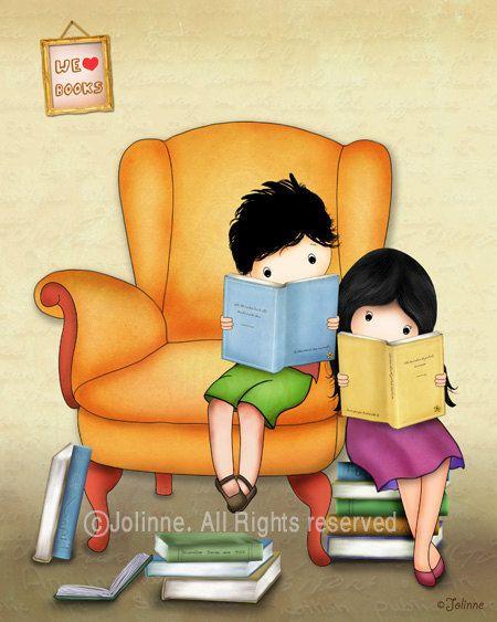 kids art print Twins brother sister books theme wall