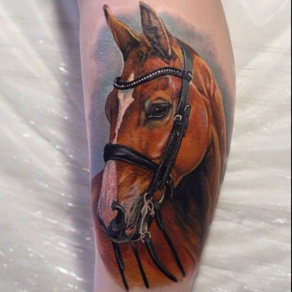 Beautiful  #horse #tattoo portrait by Giena Revess.
