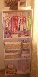DIY Mama: Bookshelf to Baby Closet in the Infant Nursing/room for extra clothes.