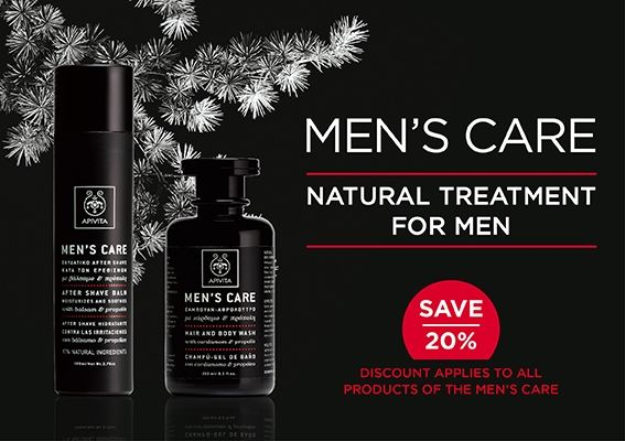 Our #MensCare range #soothes #moisturizes & relieves skin from fatigue while protecting from premature #aging . Discover #Apivita's #MensCare and Save 20% #offer