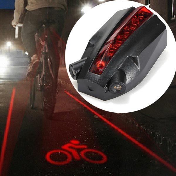 5 LED 2 feixes de laser bicicleta inteligente luz da cauda traseira logotipo segurança