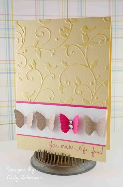 Cuttlebug embossing folder, and butterfly punch #card #punch #emboss