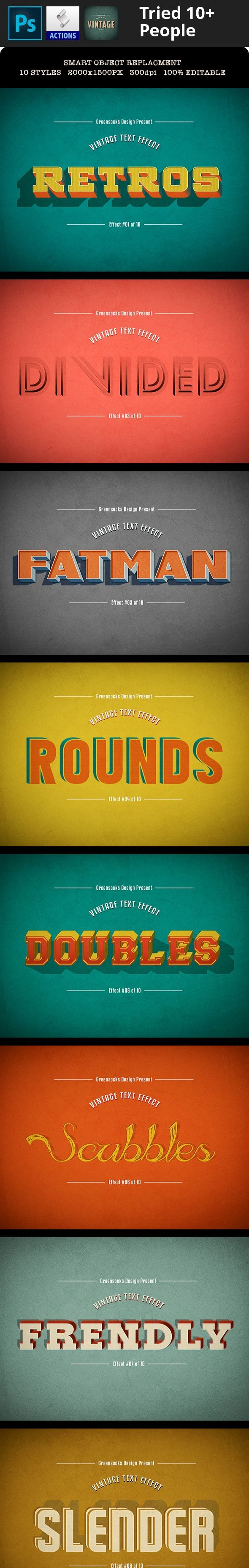 3d, classic, grunge, hipster, indie, insignia, label, logo, mock-up, mockup, oldies, pattern, retro, text, type, typography, vintage Vintage Text Effects Great for posters, flyers, magazine titles and website banners.    10 Text Effects (.psd files) 2000×1500 px / 300dpi / RGB Smart Object Text Replacement 100% Editable Well Organized Layers Free fonts    Fonts:  Kenyan Coffee – http://www.dafont.com/kenyan-coffee.font Big Ten Block – http://www.dafont.com/big-ten-block.font Street Cre...