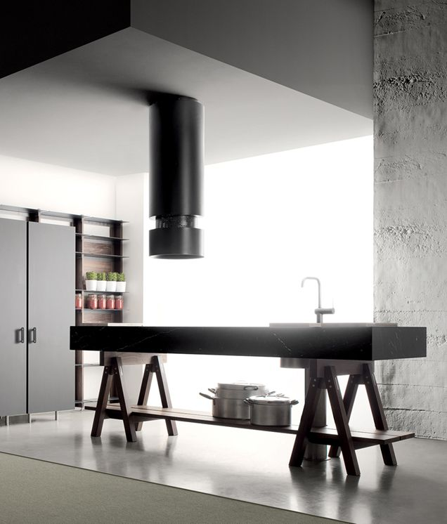 LANDO | Dolmen Kitchen, Convivio, design by Enzo Berti | Matt Marquinia Black marble top, walnut stands and shelves, hand-brushed stainless steel details | The extremely graphic design of the Thema elements perfectly matches the absolute lines of the Dolmen island.