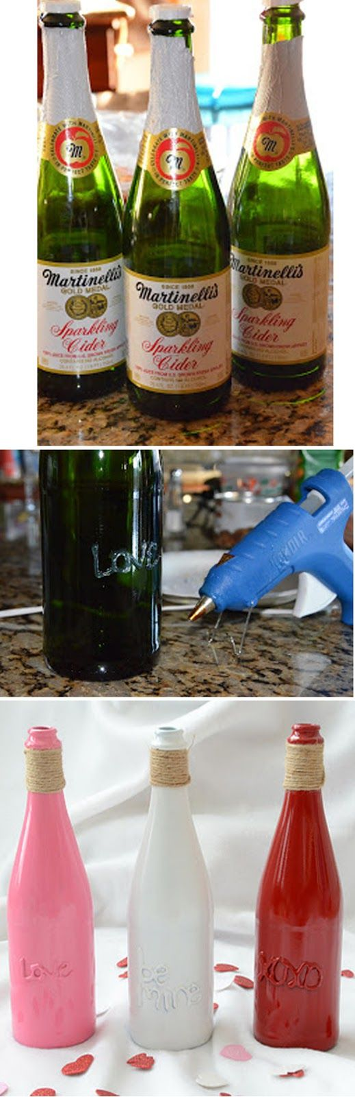 turn old glass bottles into valentine decor