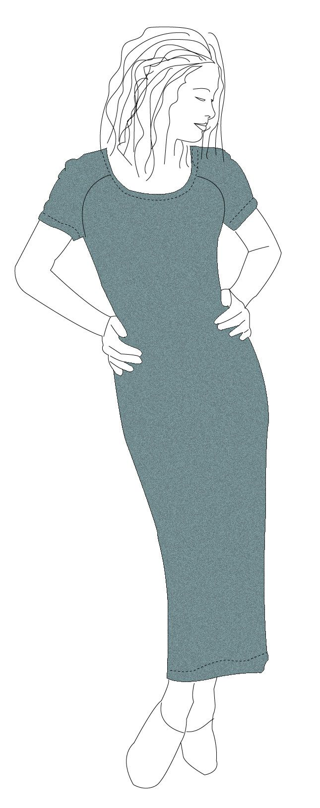 Make this easy stretchy dress in long or short or make a t-shirt.