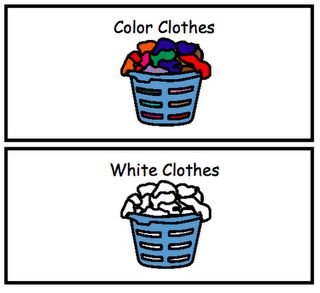 #visuals for laundry sorting! I love this, but I would do it with real photos instead of illustrations. #autism #chores