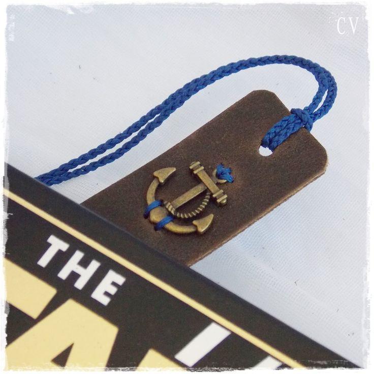 Nautical Leather Bookmark, Anchor Navy Bookmark, Sailor's Bookmark, Nautical Wedding Favor, Teacher's Gift