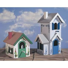 Victorian+birdhouses | Both Country and Victorian birdhouses feature stenciled flowers and ...