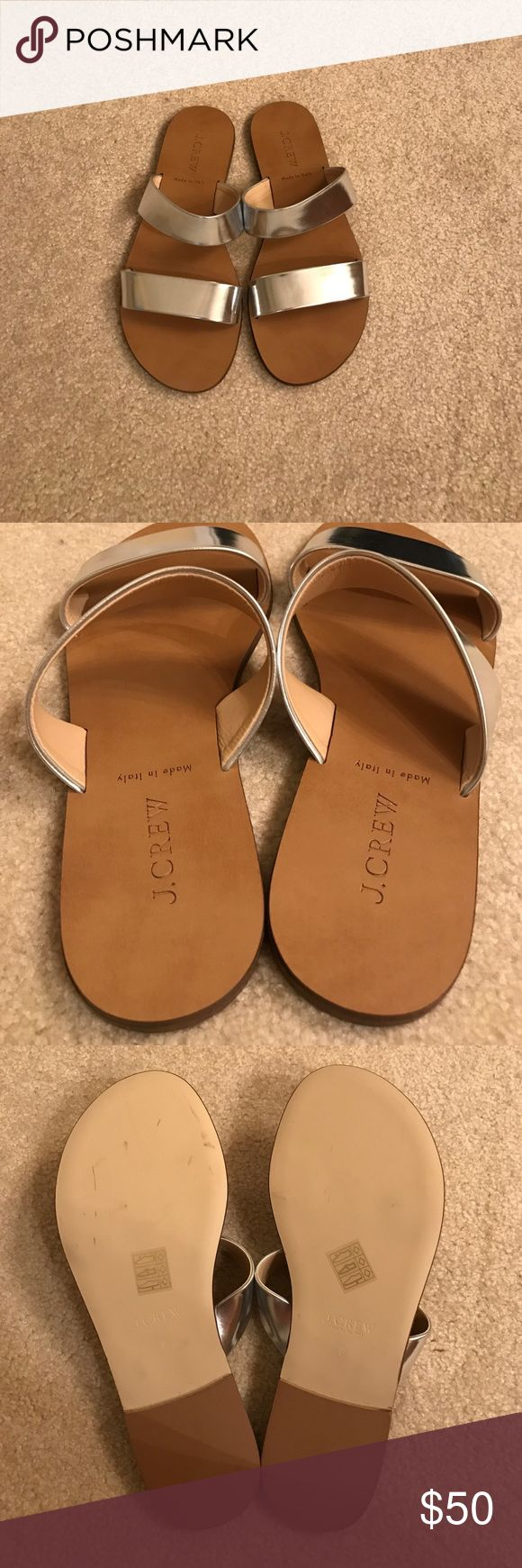 NWOT JCrew silver metallic slides NWOT JCrew silver metallic slides. Made in Italy. Size 8. No lowball offers please. Box not available. No trades. J. Crew Shoes