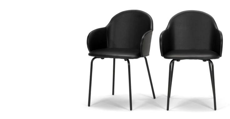 2 x Barbel Esszimmerstühle, Schwarz   made.com