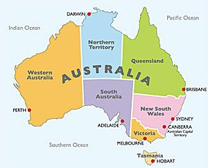 Map of Australia showing states, territories, and capital cities