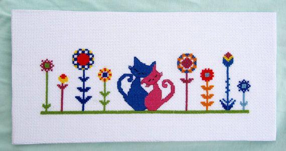 Gatti e fiori  Schema a punto croce moderno di MunciDesign su Etsy