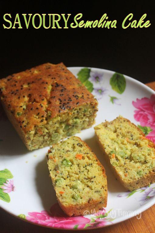 Savoury Semolina Cake Recipe - Tea Time Spicy Sooji Cake Recipe