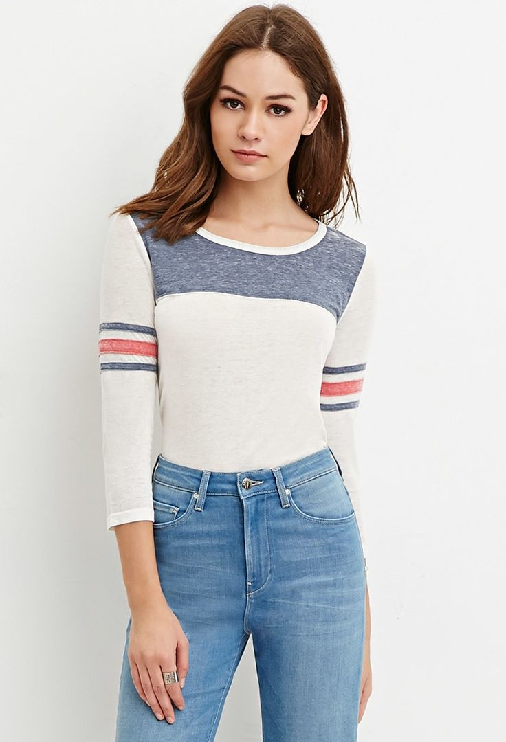 Burnout Varsity-Stripe Tee - Flash Sale - 2000181959 - Forever 21 EU English