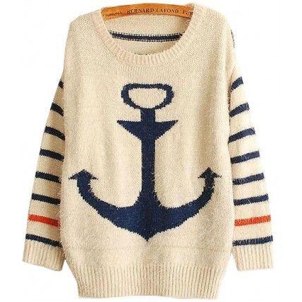 Sueter Navy Estampa de Ancora - Preto/Azul/Laranja Suéters e Moletons