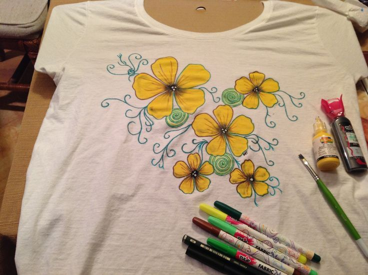 T-Shirt painting flowers. Using Scribbles 3d fabric paint and Tulip fabric markers. 3/8/14 MTaylor