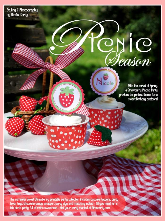 Birds Party Blog: PicNic Season: Sweet Strawberry Party Inspiration! Un compleanno fragoloso sa tanto di primavera! #compleanno