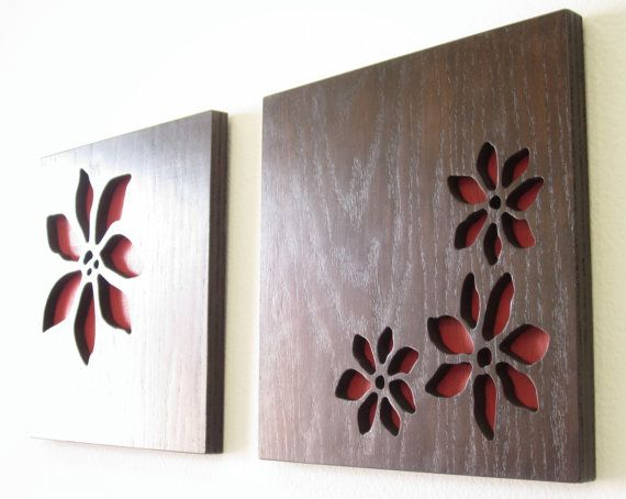 "Red Flowers, Modern Wall Art, Rustic Wall Art, Abstract Wooden Wall Art - 12""x12"" set -"
