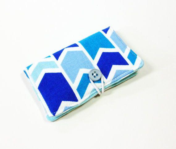 Blue Multi Broken Chevron Fabric Business Card Holder with