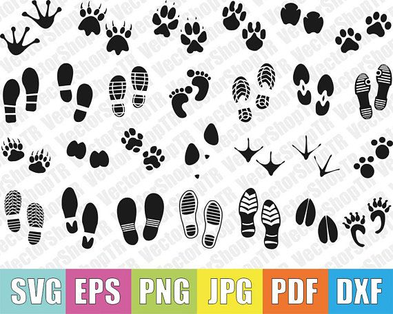 Footprints 27pcs Silhouettes Svg Png Pdf Jpg Eps Dxf Etsy Silhouette Svg Screen Printing Htv Projects