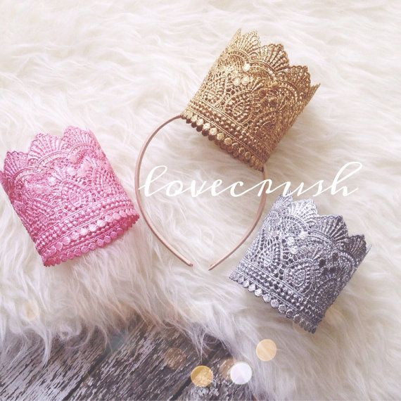 the Ava|| vintage lace gold silver pink lace crown || HEADBAND option|| princess|| photography prop|| newborn-toddler