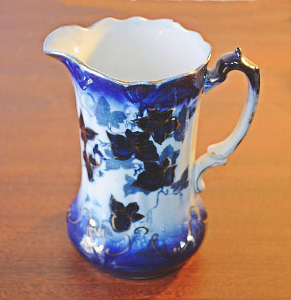 Antique Flow Blue Pitcher Blue And White Jug by Collectitorium