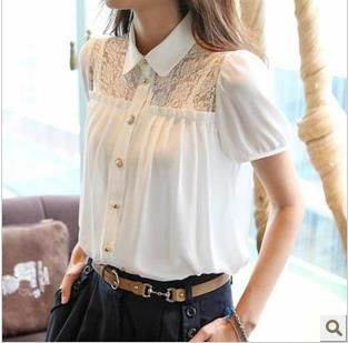 2014 Spring Summer Korean white Lace Chiffon Women Blouses Flowers Tops elegant Shirts Ladies blouses shirts women's clothing-in Blouses ...