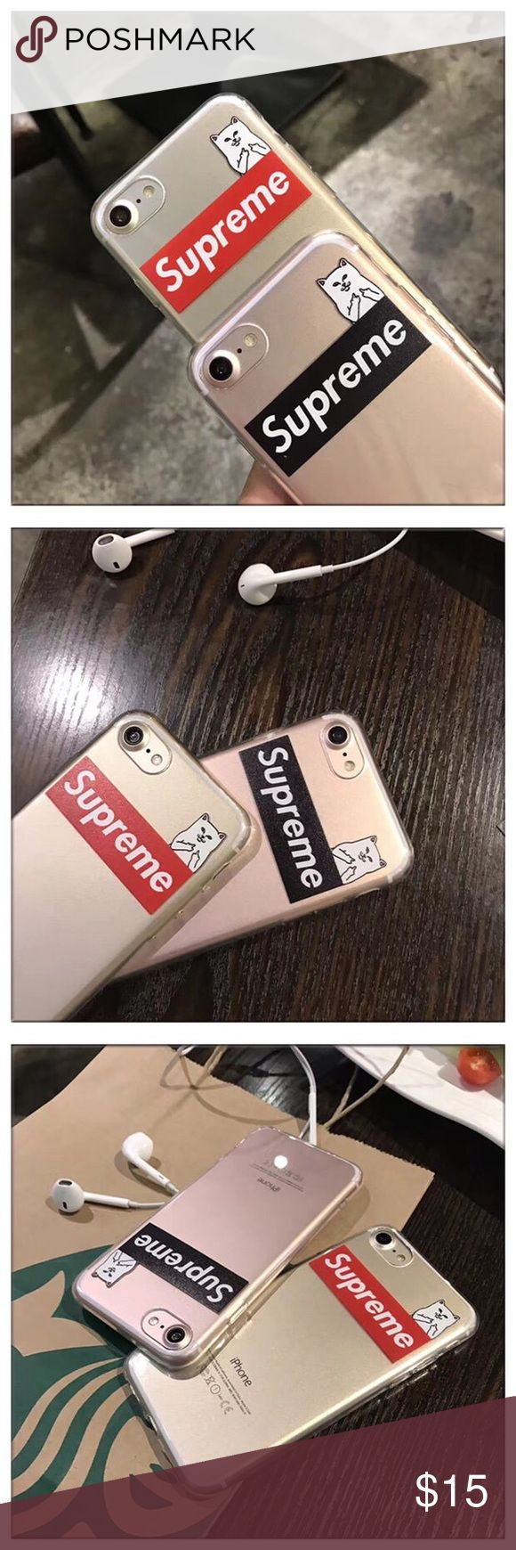 Supreme x RIPNDIP iPhone 7 plus soft phone case jelly soft rubber phone case brand new and high quality protect your phone from shock and friction, anti-vibration and prevent breaking precisely cut openings to allow full access to all functions of your iPhone   easy to install and disassemble  match you different style and occasion Supreme Accessories Phone Cases
