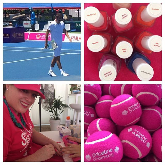 Actually got to see some #tennis 🎾 today! #janowicz won. Working hard with the @Pricelineau team at the #nailbar on #minimani time. #pricelinesisterhood guests in today #adanicodemou #samanthaharris and #itabuttrose #kooyongclassic #nailart #melbournemua #undiscovered_muas #tennisaustralia #essie #pinknails #pink #sparevents