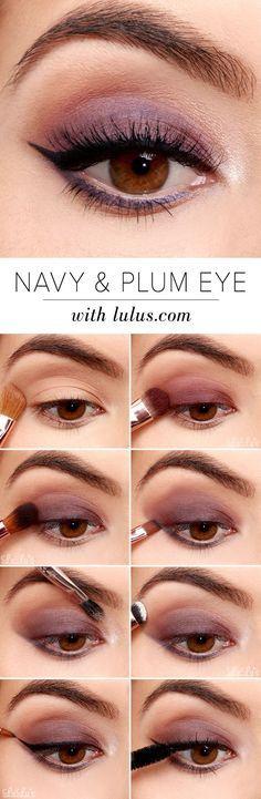 Un fard prune - Un trait d'eye liner - Et le tour est joué ! Un regard envoûtant pour les yeux marrons