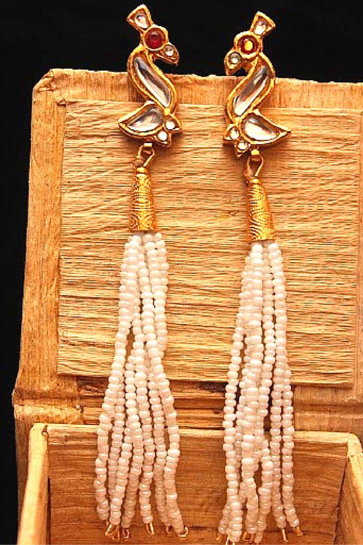 """One Flew Over The Peacock's Nest,"" #esfir #statementjewelry #peacockearrings #eastern #artisan #handcrafted #pearls #kundan #earrings #luxe"