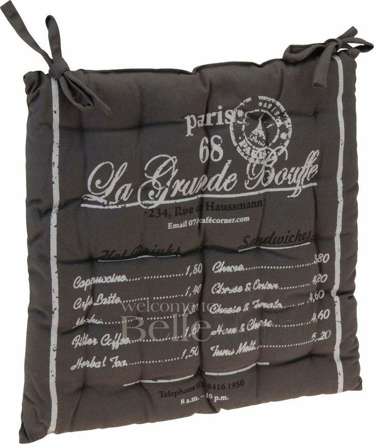 Poduszka na krzesło Paris szara - BelleMaison.pl