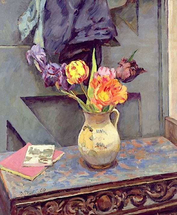 Tulips in a Decorated Jug, 1960 (on card) / Duncan Grant
