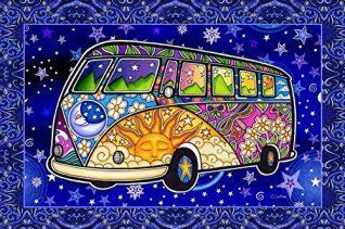 I love Psychedelic wall art especially when it is vibrant, bold and abstract.  Although I do enjoy a cool piece of marijuana wall art from time to time as well.  I love this piece of psychedelic wall décor as it is funky, unique and currently trendy.  Psychedelic Tour Bus Tapestry by Dan Morris, 40